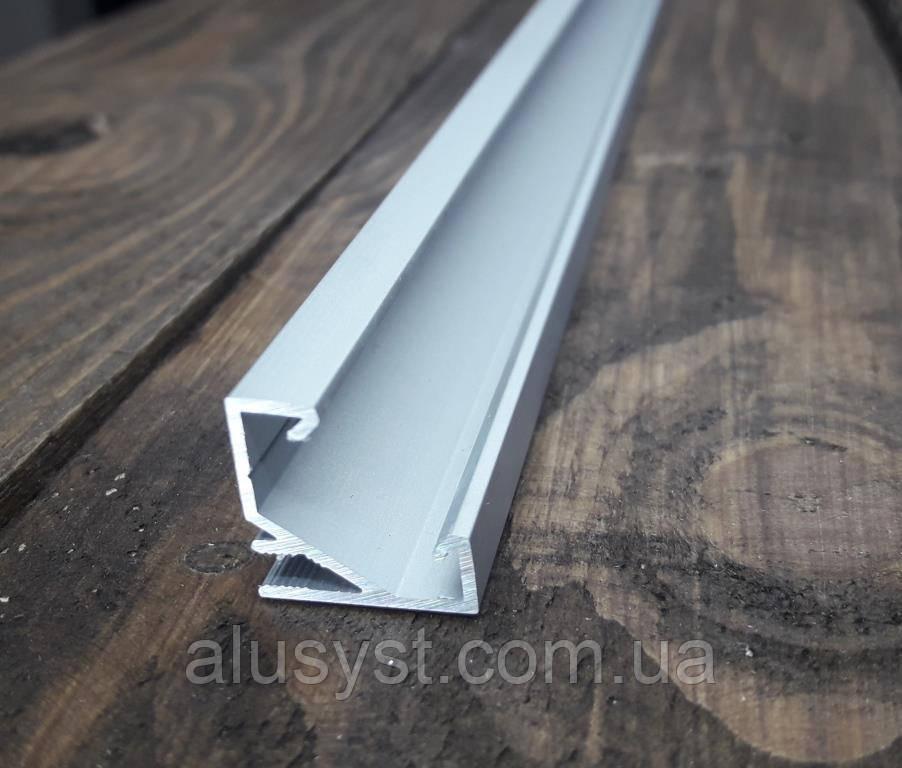 Светодиодный профиль угловой 17х17 усиленный, анод. Длина 3м