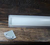 Светодиодный профиль угловой BLL 1301 (ЛПУ17) анод. Комплект профиль+рассеиватель матовый 1мп+2заглушки, фото 1