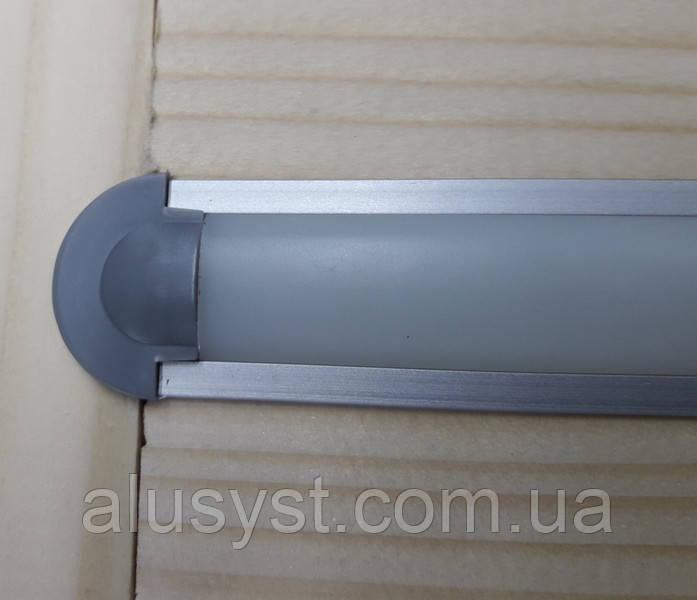 Светодиодный профиль врезной ЛПВ7 анод. Комплект 1мп (профиль+рассеиватель матовый+ заглушка)