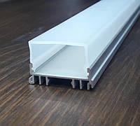 Светодиодный светильник на 3 ленты. Комплект Алюминиевый профиль 2м + рассеиватель 2м., фото 1