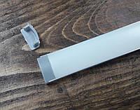 Светодиодный профиль Z306 (ЛП7) анод. Комплект 2мп (профиль+рассеиватель матовый+ заглушка), фото 1