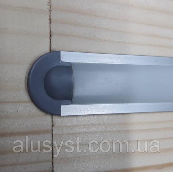 Светодиодный led профиль врезной ЛПВ12 анод. Комплект 2 мп (профиль+рассеиватель матовый+ заглушка)