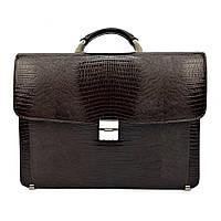 Мужской портфель кожаный Desisan 206-142 коричневый с тиснением