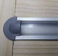 Светодиодный профиль врезной ЛПВ7 анод. Комплект 1мп (профиль+рассеиватель прозрачный+ заглушка), фото 1