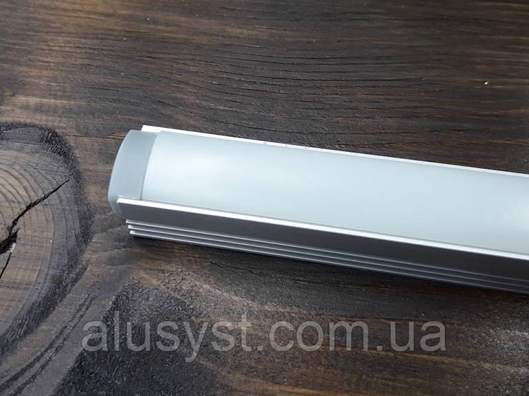 Лэд профиль светодиодный ЛП12, анод. Комплект 2мп (профиль+рассеиватель матовый+ заглушка)