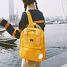 Рюкзак для девочки подростка с котом и помпоном голубой в стиле Канкен, фото 2
