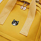 Рюкзак для девочки подростка с котом и помпоном голубой в стиле Канкен, фото 4