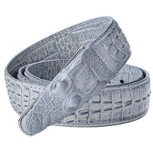 Дизайнерский кожаный ремень «Alligator» 125 см серый