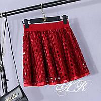 Женская  юбка стильная, красная, 607-011