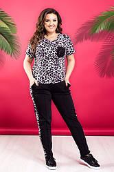 Жіночий костюм футболка+штани великі розміри з лампасами