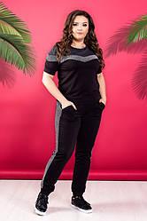 Спортивний жіночий костюм футболка+штани великі розміри,трикотаж з ламсапами люрекс