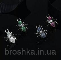 Серьги гвоздики муравьи с синими камнями бижутерия, фото 2