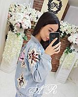 Куртка жіноча джинсова з квіткою, стильна, 607-013