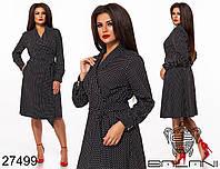 Коттоновое платье на запах в мелкий горошек с 48 по 62 размер