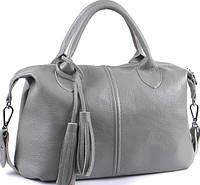 Вместительная женская сумка из мягкой натуральной кожи серого цвета , фото 1