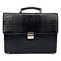 Мужской портфель кожаный Desisan 2005-11 черный под крокодила