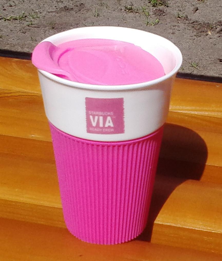 Керамическая чашка с крышкой и съемным чехлом VIA. Starbucks Розовый