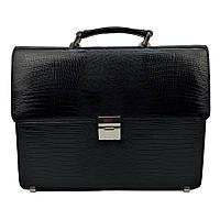 Мужской портфель кожаный Desisan 2005-143 черный с тиснением
