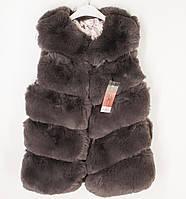 Безрукавка, шубка, жилетка сірого кольору для дівчинки (розмір 120)