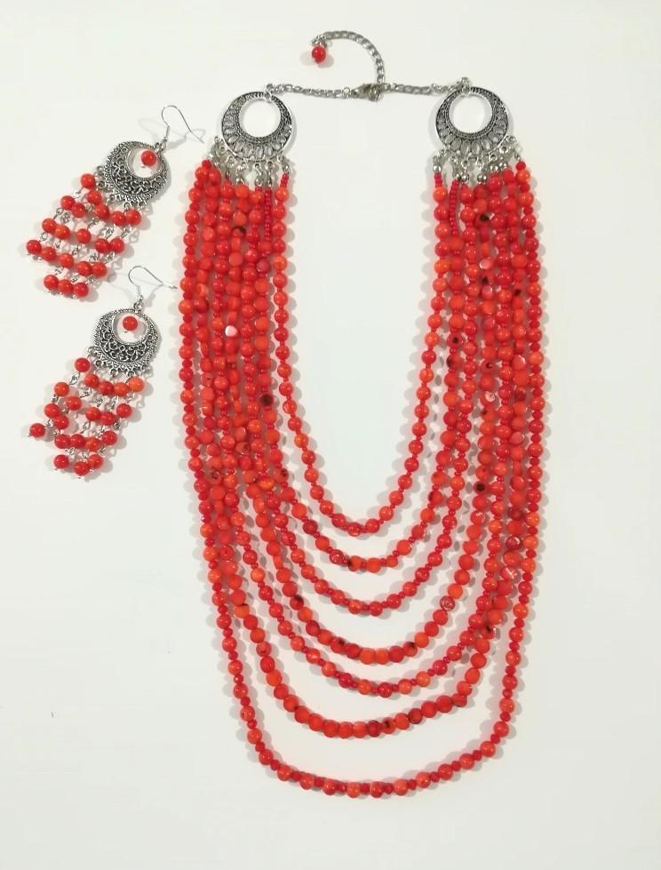 Набір прикрас Оксанка з Кораллів намисто та сережки, натуральный камень,тм Satori \ Sn - 0055