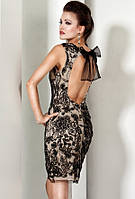 Женские платья Jovani и Sherri Hill. Платье Leaksa цвета ванили с черным гипюром и открытой спиной JV80040