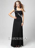 Черное платье Leaksa с плетением на груди декорированное камнями LA80015