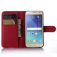 Чехол-книжка Litchie Wallet для Samsung J320 Galaxy J3 2016 Красный