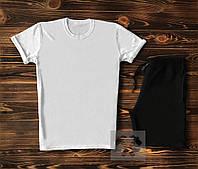 Мужской спортивный костюм футболка+шорты бело-черного цвета