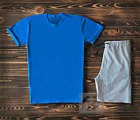 Спортивный костюм мужской футболка+шорты светло-синий с серым