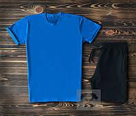 Спортивный костюм мужской футболка+шорты светло-синий с черным