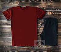 Спортивный костюм мужской футболка+шорты бордово-черный