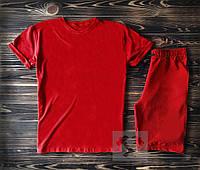 Спортивный костюм мужской футболка+шорты красного цвета