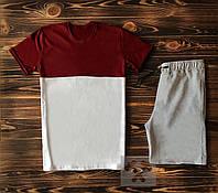 Мужской спортивный костюм футболка+шорты бордово-белого цвета с серым