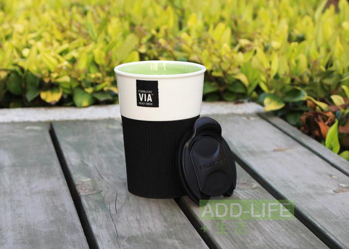 Керамическая чашка с крышкой и съемным чехлом VIA. Starbucks Черный