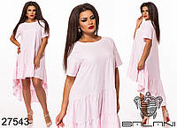 Легкое свободное платье с хвостом с 48 по 54 размер, фото 1