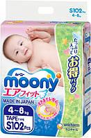 Подгузники Moony S 4-8 кг 102 шт
