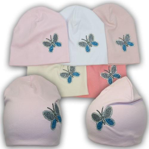 Трикотажные шапки двойные на девочку