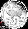 """1 oz Срібна монета """"Рік Свині"""" (пруф)  у футлярі"""