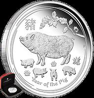 """1 oz Срібна монета """"Рік Свині"""" (пруф)  у футлярі, фото 1"""