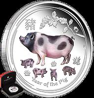 """1 oz Срібна кольорова монета """"Рік Свині""""  у футлярі, фото 1"""