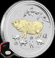 """1 oz Срібна позолочена монета """"Рік Свині"""" у футлярі, фото 1"""