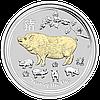 """1 oz Срібна позолочена монета """"Рік Свині"""" без футляра (у капсулі, з сертифікатом)"""