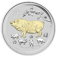 """1 oz Срібна позолочена монета """"Рік Свині"""" без футляра (у капсулі, з сертифікатом), фото 1"""