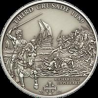 Хрестові походи – 3й - 1189 р., Річард Левине Серце ~ Срібна монета у футлярі, фото 1