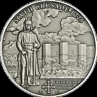 Хрестові походи – 6й 1225 р. Фрідріх II Штауфен імператор Священної Римської імперії Срібна монета у футлярі, фото 1