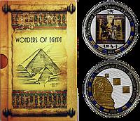 Чудеса Єгипту ~ Сфінкс ~ Піраміди Гізи ~ Трон Тутанхамона ~ Набір з 2 срібних монет, фото 1