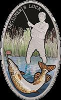 """Рибалка ~ """"Новачкам везе!"""" Срібна монета у подарунковій листівці, фото 1"""