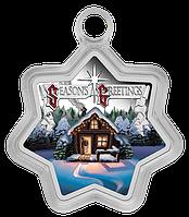 Різдво ~ Срібна монета у формі зірки, у листівці, фото 1