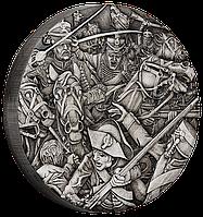 Гусари ~ Срібна монета з високим рельєфом та NFC чіпом для перегляду панорамної 3D віртуальної реальності, фото 1