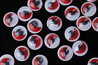 (Цена за 200шт) Круглые глазки для игрушек, красные, диаметр 8мм, подвижный зрачок, Фурнитура для игрушек, Глаза для кукол